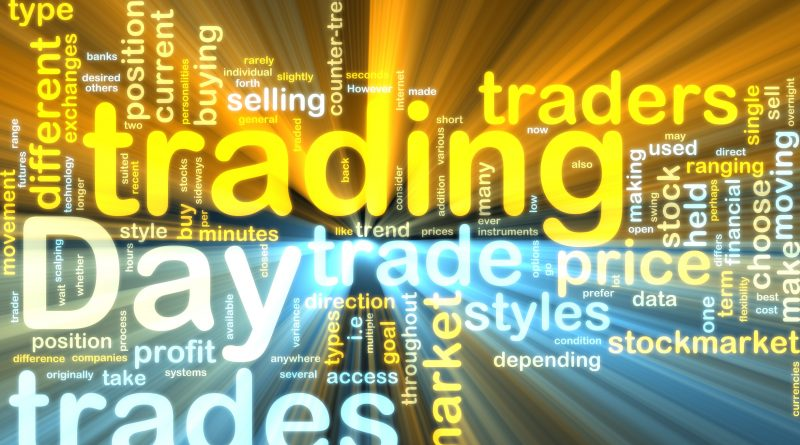 Word cloud tags concept illustration of day trading glowing light effect